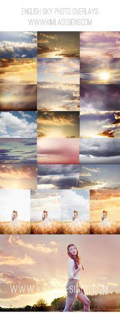 English Sky Photo Overlays for Photographers #BestWeddingTips #PhotoshopTutorialPoster