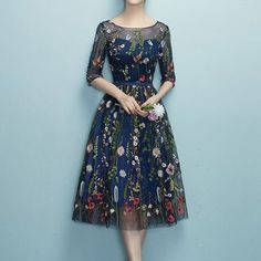 89381fe8172 Buy Rosita Floral Embroidery Elbow-Sleeve Cocktail Dress at YesStyle.com!  Quality products