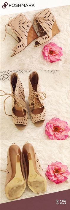 Beige Lace-up Bootie Wedges Beige Lace-up Bootie Wedges. Peep toe. Removable shoestrings. Zip up back. Size 9. JustFab Shoes Wedges