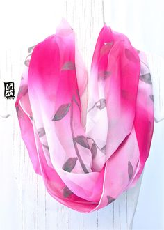 Hand Painted Silk Scarf, Silk Infinity Scarf, Pink and White Ombre Infinity Scarf with Silver Vine Leaves Scarf, 14x72 inches Loop