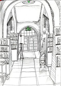Kallion kirjasto drawing by Karoliina Pärnänen, 2016.