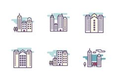 """Vector bold line icons. """"Cityscape and buildings"""" set. #LineIcons #VectorIcons"""