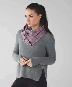 The possibilities are (nearly) endless with this cozy, customizable circle scarf. We made it with snaps so it could be a little bit of everything: a scarf, a wrap, a shrug, a hood – you name it! Designed with soft, sweat-wicking and stretchy fabric, it's perfect for  warming up, cooling down and extra-long walks home.