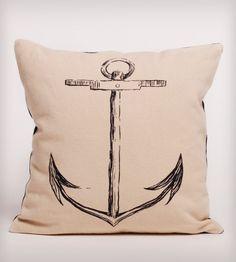 Black Anchor Organic Cotton Pillow//