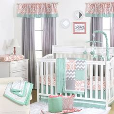 mint coral and grey patchwork 5 piece baby crib bedding set by the peanut shell - Baby Girl Bedding Sets