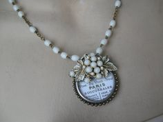 Paris Necklace, repurposed vintage jewelry, upcycled, vintage French, French necklace, antique French label, upcycled, white rosary beads
