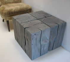 Timber Table Block Modular Elephant Grey Stool by realwoodworks1