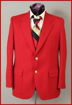 Harwick Made in USA Mens Hot Red 2 Button Blazer at $225