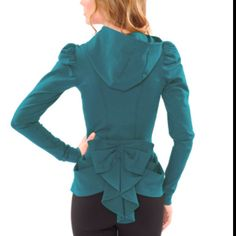 Ouuu need this.  Betsey Johnson teal peplum bow Jacket with a hood!  Maybe a neutral color though?