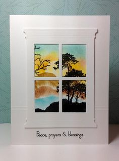 """By Maura (beesmom at Splitcoaststampers). Uses Stampin' Up """"Serene Silhouettes"""" and Memory Box """"Madison Window"""" die."""