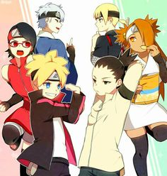 Boruto, Sarada,Mitsuki, Shikadai, Chocho and Inojin