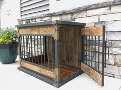 Rustic Industrial Dog Kennel, Dog Crate - Riveted Steel Dog Kennel with Reclaimed Barn Wood #2624 Dimensions: 40 Long x 26 Deep x 30 High Barn wood: Back, Top, Front & Sides FINISH: Steel: Clear Powder Coat Top: Unfinished or Finished DOOR PLACEMENT: END Door End: RH or LH