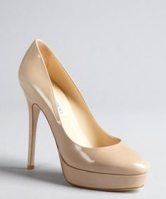 Jimmy Choo : nude patent leather 'Cosmic' platform pumps : style #  326414301 My babies