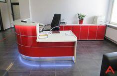 lada recepcyjna Valde Valde reception desk #receptiondesk #ladyrecepcyjne Furniture Making, Modern Furniture, Modern Reception Desk, Front Desk, Led, Interior, Solid Surface, Nightclub, Counter