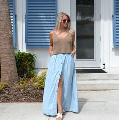 The Fashionably Late Blonde Talk Anymore, Keep My Cool, Chambray Skirt, Sweater Tank Top, Clothing Blogs, Are You Ok, Bite Beauty, Quay Australia