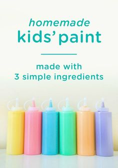 If your little one loves to paint, then check out this recipe for homemade paint—with only 3 ingredients! It is easy to make and may be wonderful entertainment for your child during arts and craft time. Arts And Crafts For Teens, Art And Craft Videos, Easy Arts And Crafts, Crafts For Girls, Arts And Crafts Projects, Arts And Crafts Supplies, Diy For Girls, Baby Crafts, Toddler Crafts