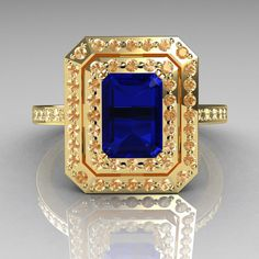 Royal 18K Yellow Gold 1.0 CT Emerald Cut Blue Sapphire Pave Diamond Double Halo Ring R83-18YGDBS. $1,549.00, via Etsy.