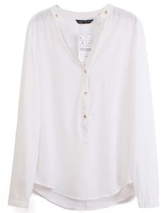Blusa gasa escote pico-Blanco US$23.75