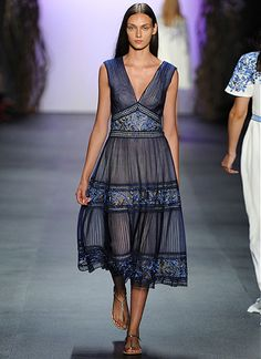 Look 25:   Wisteria-Motif Embroidered Tulle Plunge Neck Banded Midi Dress