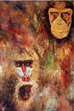 Óleo original de Mortiz. Simios. Pinturas originales flora y fauna; https://mortizz.com/mi-obra__trashed/pintura-flora-y-fauna/  #oilpaintings #simians #animalspaintings