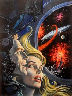 ED EMSHWILLER - art for Space Station 1 by Frank Belknap Long - 1962 Ace Books