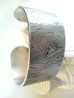 Wood Grain Engraved Cuff Bracelet Hand Engraved by larkandjuniper, $38.00