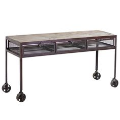 Proximo Industrial Wood and Iron Desk, Acid Wash with Limewash | Wrightwood Furniture