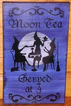Primitive Witch Sign Moon Tea Served at 3 Coffee Witch's Kitchen Witches black cats wicca wiccan halloween props signs plaque salem by SleepyHollowPrims, $30.00 USD