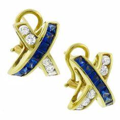 1.00ct Sapphire 0.80ct  Diamond Gold Earrings