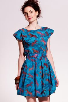 Sugarhill Boutique rayon horse print batik dress, with open back and button closure. Hand-made in Bali. :)