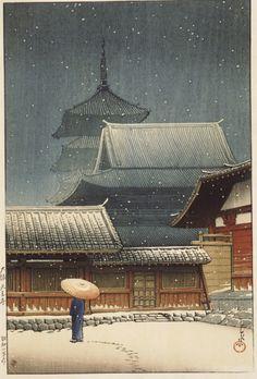 Kawase Hasui, Tennoji Temple in Snow, 1927