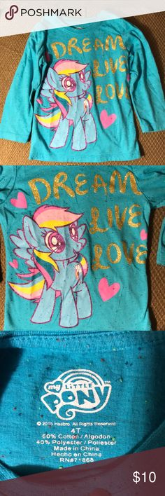 Girls long sleeve shirts Bundle of Girls long sleeve shirts. My little pony Rainbow dash (5T). Pink with small heart shaped pocket (5T). Lavender (3T). Price listed is for all items Shirts & Tops Tees - Long Sleeve