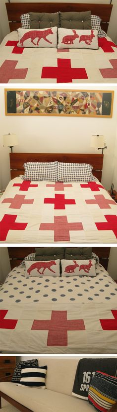 Image detail for -red cross quilt Making Ideas, Making Out, Plus Quilt, Cross Quilt, Red And White Quilts, Quilting Frames, Old Clothes, Square Patterns, Shades Of White