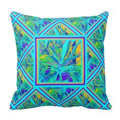 Awesome American Southwest blue Agave cactus sofa throw pillow in turquoise blues, yellow and purple. Sofa Throw Pillows, Decorative Throw Pillows, Cushions, Turquoise Throw Pillows, Turquoise Pattern, Cactus Art, Art Pictures, Home Furnishings, Tropical