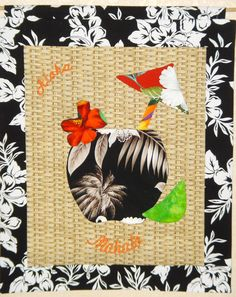 Hawaii wall hanging  with 3-D flower and lime. Coconut and umbrella are machine appliqued on.