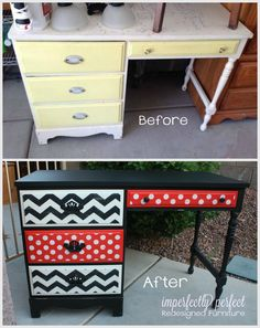 Pained super cute black, red & white colors on this vintage desk. Perfect for a Micky or Minnie Mouse Room! Stenciled chevron and polka dots. Lightly distressed for a rustic look. See Imperfectly Perfect Redesigned Furniture for more photos.
