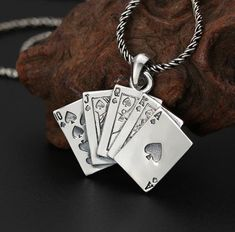 925 Sterling Silver Pendant Playing Cards Pendant Poker Silver Spade Pendants by ShinyShinySoul on Etsy Cool Necklaces, Round Earrings, Bead Caps, Silver Charms, Jewelry Findings, Sterling Silver Pendants, Antique Silver, Charmed, Playing Cards