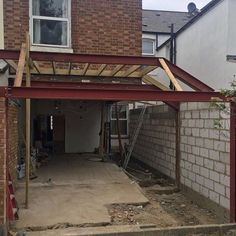 Steels inserted and roof works begun in Kitchen Extension Uk, House Extension Plans, House Extension Design, Glass Extension, Extension Designs, Roof Extension, House Design, Extension Ideas, Building Structure