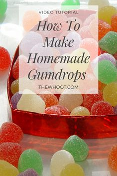 This Homemade Gumdrops Recipe is perfect for holiday treats and they're easy to make and taste great. We have a video tutorial to show how. Homemade Gummy Bears, Homemade Candies, Homemade Jelly Beans, Jello Recipes, Candy Recipes, Jello Candy Recipe, Gum Recipe, Sweet Recipes, Recipies