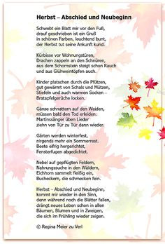 In der Schönheit des Herbstes schwingt auch ein wenig Wehmut mit, dabei liegt doch in jedem Abschied auch ein Neubeginn. Herbst – Abschied und Neubeginn Schwebt ein Blatt mir vor den Fuß, dra…