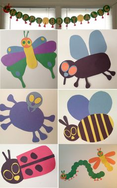Inexpensive bug themes decorations inspired by Eric Carle bug books - just cut some shapes and glue together.