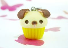 Kawaii Dog Cupcake Charm, Polymer Clay Handmade, Cute Gift