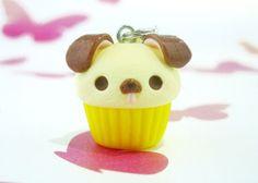 Kawaii Dog Cupcake Charm, Polymer Clay Handmade, Cute Gift