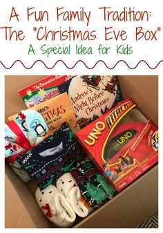 "Christmas Eve Tradition for Families: Christmas Eve Box Here is one of our favorite traditions of the holiday season. On Christmas Even, the kids get so excited to open this special ""Christmas Eve\"" box. Christmas Eve Traditions, Its Christmas Eve, First Christmas, Diy Christmas Gifts, Winter Christmas, Holiday Fun, Christmas Ideas For Kids, Family Christmas Traditions, Christmas Presents For Kids"