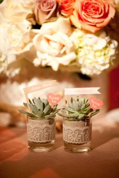How cute and easy are these succulent favors? Inexpensive short glasses, ribbon or any fabric/paper trim, succulents you can easily reproduce and a tag if you really wanted one and voila! Perfect for a garden/desert/modern event
