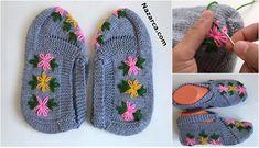3-sis-ile-cicek-nakisli-gri-bayan-patik Moda Emo, Crochet Baby Shoes, Knitted Slippers, Girl Blog, Baby Knitting, Models, Embroidery, Sandals, Pattern