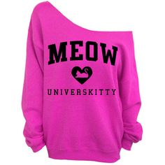 Meow Universkitty Cat Shirt - Hot Pink Slouchy Oversized Sweatshirt (38 CAD) ❤ liked on Polyvore featuring tops, hoodies, sweatshirts, shirts, sweaters, pink jersey shirt, cat sweatshirt, pink checkered shirt, jersey shirt and pink shirts