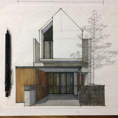 Architecture Design, Architecture Concept Drawings, Architecture Sketchbook, Architecture Portfolio, Facade Design, Exterior Design, Residential Architecture, Townhouse Designs, Interior Design Sketches