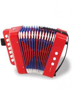 Holz-Akkordeon mit 14 Tönen in rot