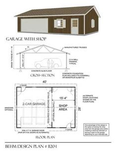 Two Car Garage With Shop Plan 1120-1 40' x 28' by Behm Design